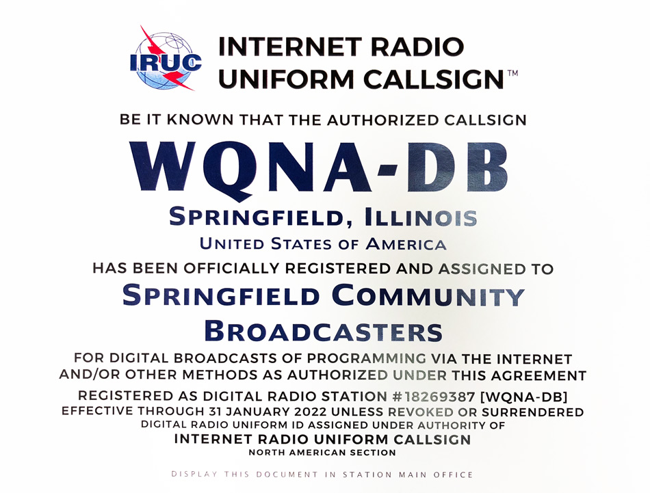 Internet Radio Uniform Callsign registration certificate for WQNA-DB